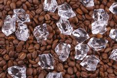 ice cubes and coffea beans - stock photo