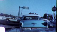 CARS in INTERSECTION Heavy Traffic Left Turn 1960s Vintage Film Home Movie 5670 - stock footage