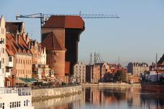 Medieval crane of gdansk Stock Photos