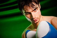 boxing. man in boxing gloves - stock photo