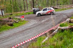 d. nagle driving nissan micra - stock photo