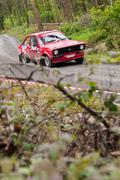 a. commins driving ford escort - stock photo