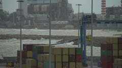 Slo-mo, power plant shipping containers and sea, Stock Footage
