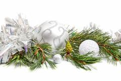 Fir tree evergreen branch with new year decorations Stock Photos