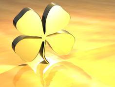 3d four-leaf clover gold sign Stock Illustration