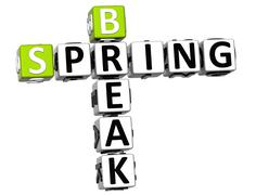 3d spring break crossword - stock illustration