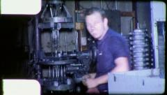 Man US MACHINIST American INDUSTRY FACTORY 1960s Vintage Film Home Movie 5678 Stock Footage