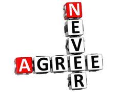 3d never agree crossword Stock Illustration