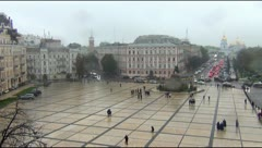 View Sophia Square and St. Michael's Cathedral in Kiev Stock Footage