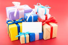 gift boxes with greeting card - stock photo