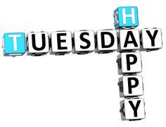3d happy tuesday crossword Stock Illustration