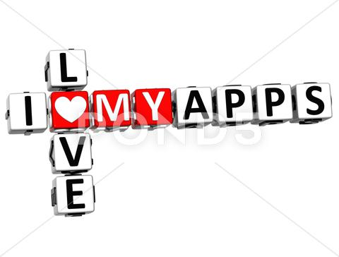 Stock Illustration of 3d i love my apps crossword