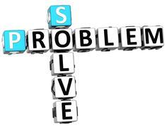 3d solve problem crossword Stock Illustration