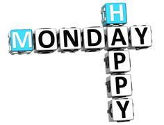 3d happy monday crossword Stock Illustration