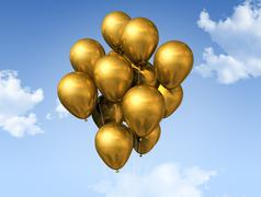 gold balloons on a blue sky. - stock illustration