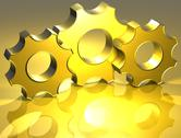 Stock Illustration of 3d gear gold sign