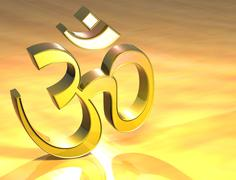 3d hinduism gold sign Stock Illustration