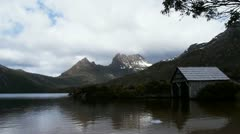 Stock Video Footage of dove lake boat shed time lapse