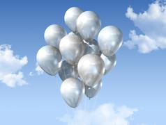 white balloons on a blue sky - stock illustration