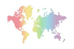 rainbow world map - stock illustration