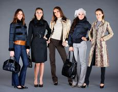 five girls. autumn winter collection lady's clothes - stock photo