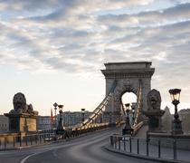 Stock Photo of the budapest chain bridge at dawn.