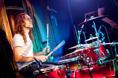 playing drums - stock photo