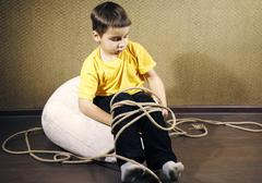 tied up kid - stock photo