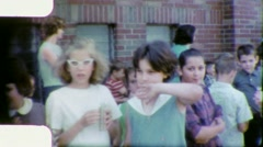 SCHOOL CHILDREN Outside School Building 1960s (Vintage Home Movie Film) 5694 - stock footage