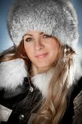 portrait of the girl in the winter - stock photo
