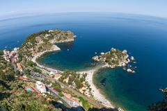 isola bella, a small island near taormina in sicily - stock photo