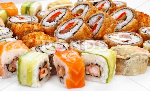 Stock photo of sushi roll big set