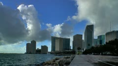 Miami downtown skyline seen from bayfront in early morning Stock Footage