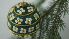 Hand crafted Christmas bulb view from above - stock footage