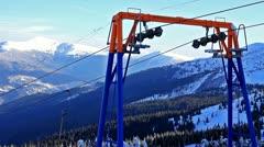 Ski lift, static video. Ukraine, Carpathian mountain, Dragobrat. Stock Footage