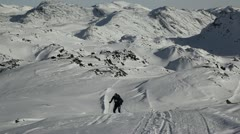 Crosscountry skiing in Greenland Stock Footage