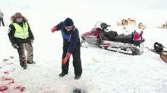 Feeling free: Icefishing in Greenland Stock Footage