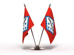Miniature flag of arkansas (isolated) Stock Photos