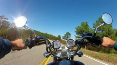 POV Motorcycle Riding On Forest Road In Mountains Stock Footage