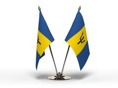 Miniature flag of barbados (isolated) Stock Photos