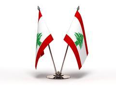 miniature flag of lebanon (isolated) - stock photo