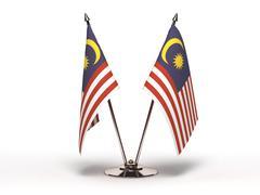 miniature flag of malaysia (isolated) - stock photo