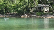 Beautiful Beach on Koh Phangan. Haad Salad. Lonely house next to the water Stock Footage