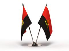 miniature flag of angola (isolated) - stock photo