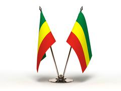 Miniature flag of ethiopia (isolated) Stock Photos