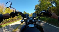 POV Riding Motorcycle On Curvy Mountain Road 1 Stock Footage