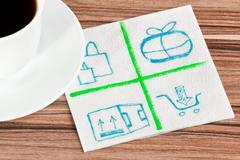 Mail logo on a napkin Stock Photos