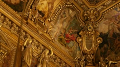 Paintings and ornaments of Grand Foyer at Garnier Opera Stock Footage