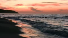 Beautiful Sunset on the Beach - Baltic Sea, Northern Germany - stock footage