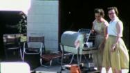 Stock Video Footage of Women New Grill Cooking BARBECUE BBQ 1960s (Vintage Film Retro Home Movie) 5706